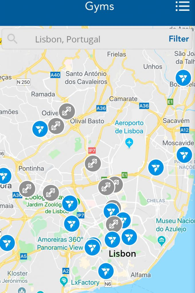 Find gyms in Lisbon with TrainAway