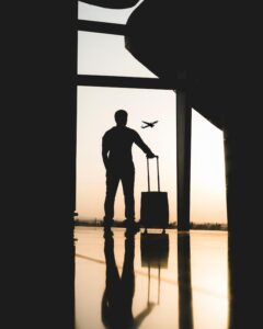Silhouette of a man in airport