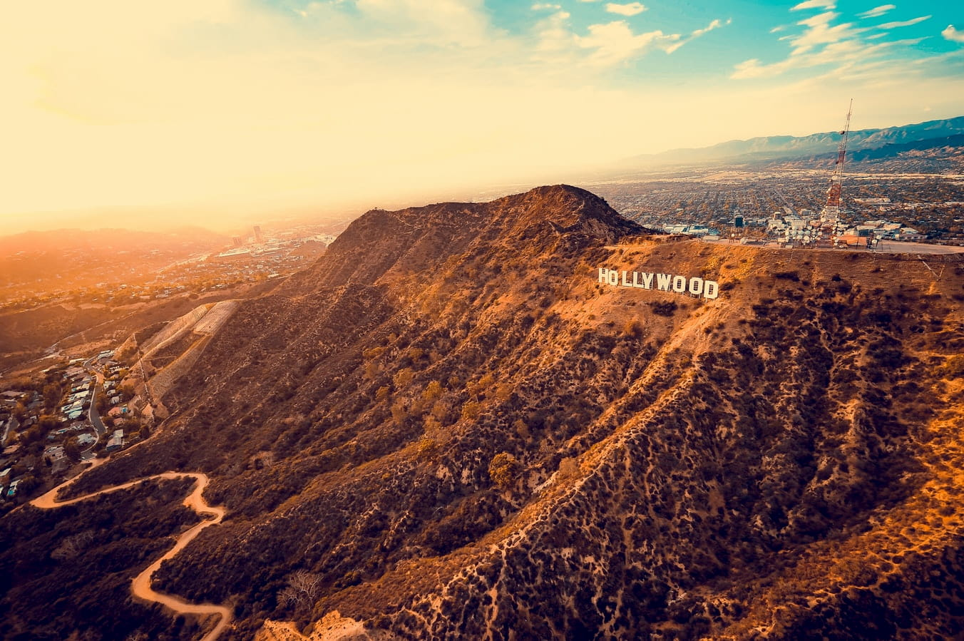 the Hollywood sign in Hollywood, Los Angeles