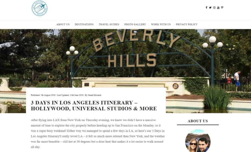 Picture of a blog about travelling in Los Angeles (LA)