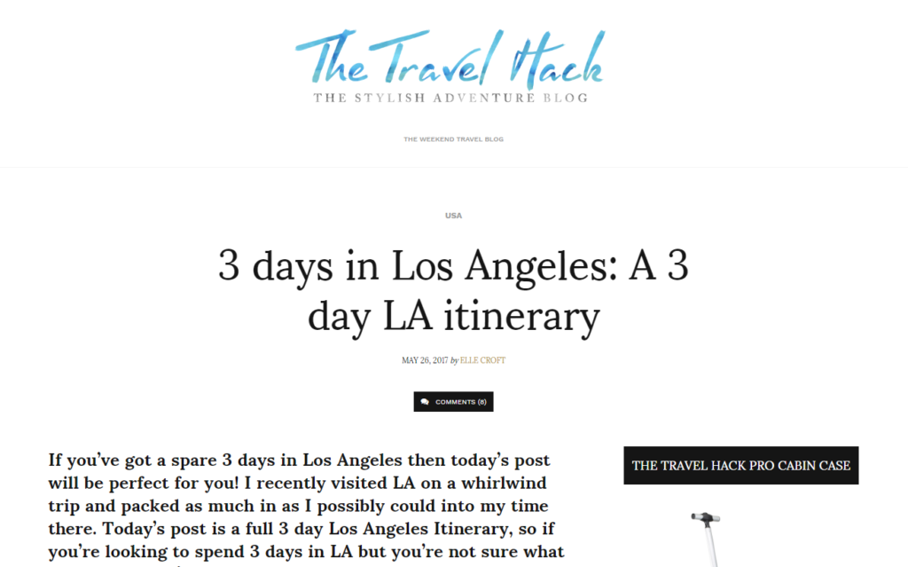 Picture of a blog about travel in Los Angeles (LA)