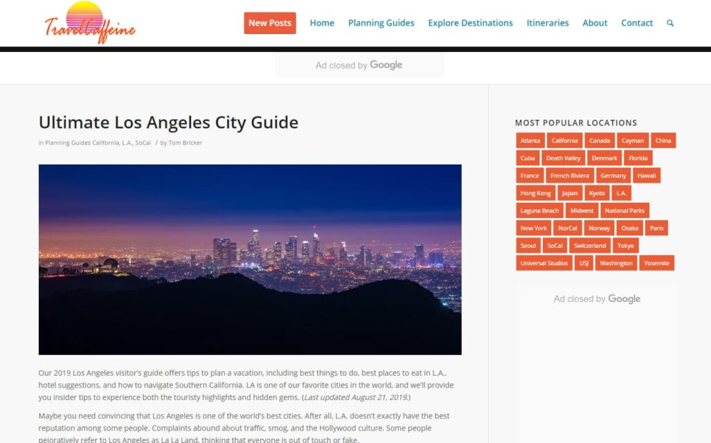 A picture of a blog and post about the ultimate LA city guide