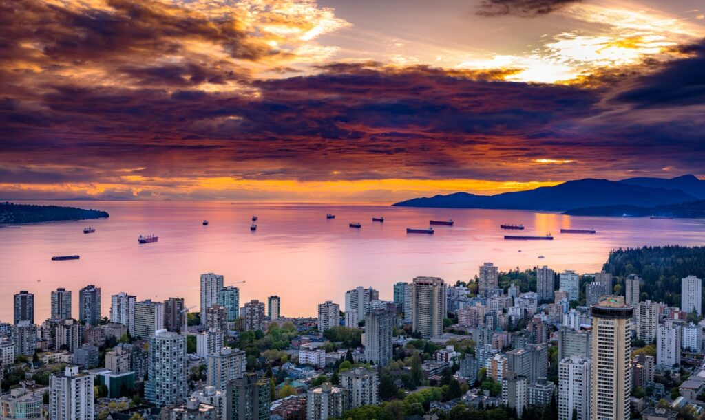 A picture of orange-red colored sunset in Vancouver
