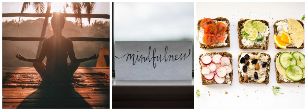 A collage of 3 pictures consisting of a women practicing yoga, letter and 6 sandwiches