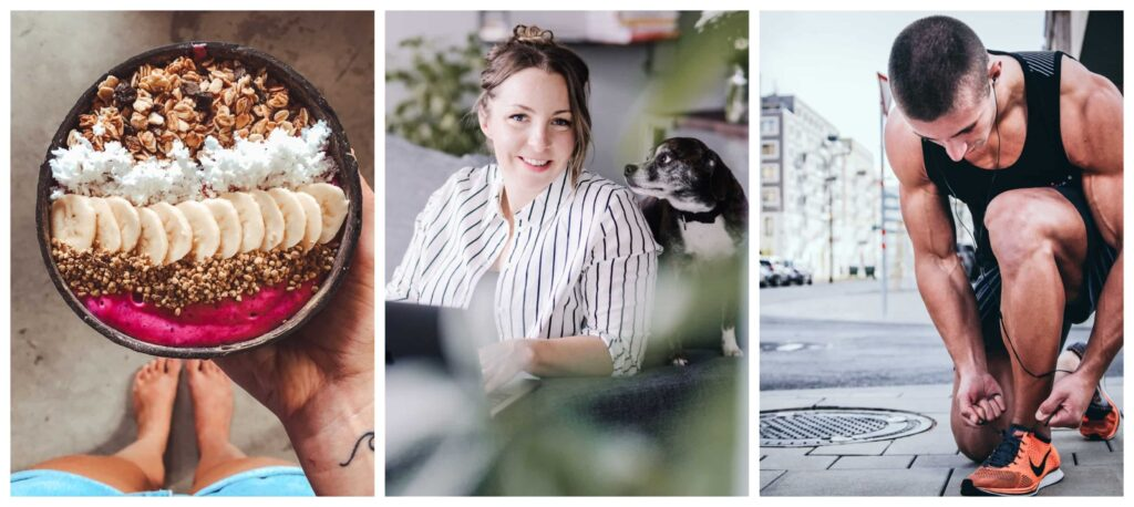 Collage of 3 photos, A plate with healthy food, A guy fixing his shoes and a beautiful woman with her black dog