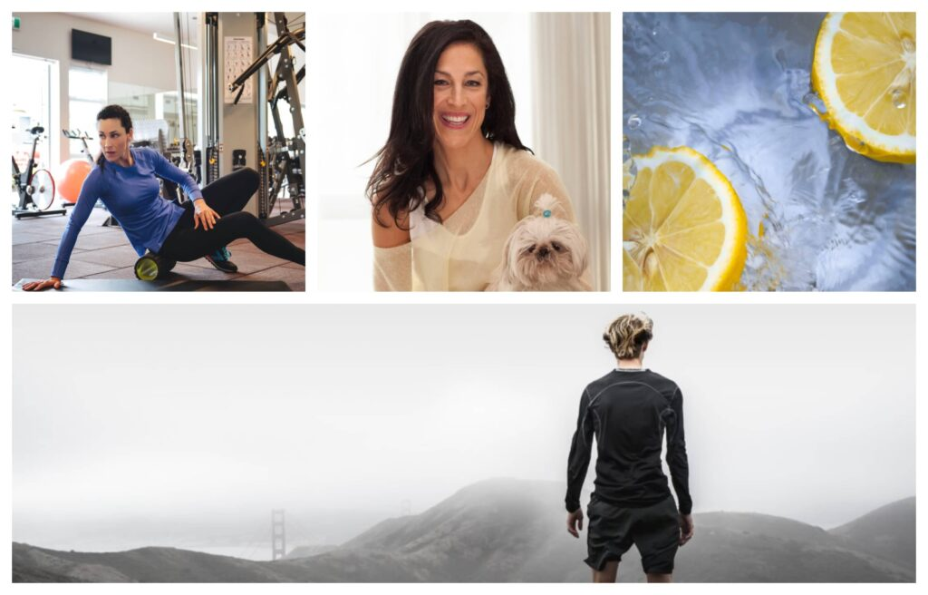 Collage of 4 photos, A women warming up on the floor, beautiful black-haired woman with a dog, lemons and a guy on a mountain