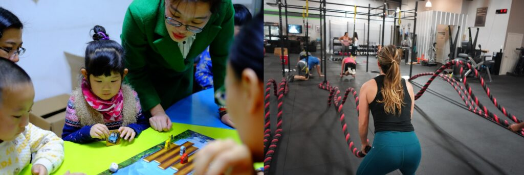 A collage of kids in kindergarten on the left and a woman working out on the right